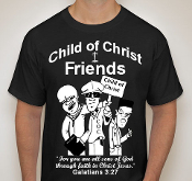 Friends-Man-white image-black ss shirt